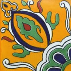 """Mexican tiles in """"Coahuila"""" style. Handcrafted with green, cobalt and white terra cotta tile design over yellow background. Shipping from Mexico to the US and Canada is estimated for four weeks. Mexican Fresh, Mexican Style, Patterned Wall Tiles, Mexican Ceramics, Orange Background, Green Pattern, Tile Design, Hand Painted, Terra Cotta"""