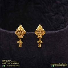 No photo description available. Gold Ring Designs, Gold Earrings Designs, Gold Jewellery Design, Necklace Designs, Gold Jewelry Simple, Gold Rings Jewelry, Jewelery, Gold Jhumka Earrings, Bead Earrings