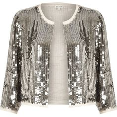 River Island Silver sequin bolero (710 EGP) ❤ liked on Polyvore featuring outerwear, jackets, blazers, coats / jackets, silver, women, white bolero, sequin bolero jacket, silver jacket and bolero jacket