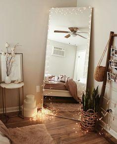 41 cozy diy apartment decor ideas 30 - Room ✨ - Home decor ideas Home Bedroom, Room Decor Bedroom, Modern Bedroom, Contemporary Bedroom, Trendy Bedroom, Bedroom Lighting, Bed Room, Mirror Bedroom, Bedroom Inspo