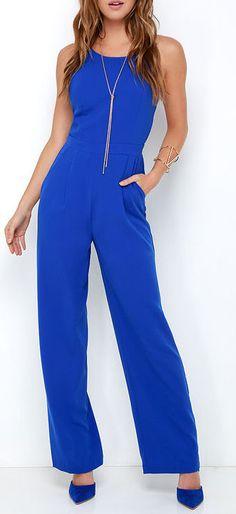 Shoot for the Sky Cobalt Blue Jumpsuit