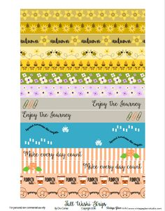 Fall Washi Tape Strips | Free printable