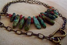 Natural Turquoise Stones  and Red Branch Coral by PLANETDIGS2, $59.00