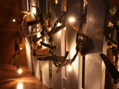 Christmas String Lights with Driftwood