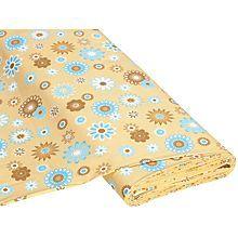 Baumwollstoff 'Happy Flower beige/blau'