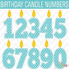 Birthday Candle Numbers :: Clipart and Graphics :: Aimee Asher Boutique