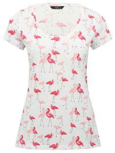 Flamingo print pocket detail top