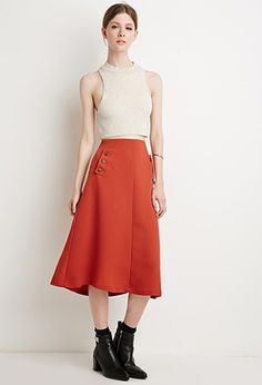 Contemporary Buttoned Crepe Skirt   LOVE21 - 2000142815
