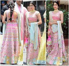 Yay or Nay : Janhvi Kapoor and Khushi Kapoor in Manish Malhotra Half Saree Lehenga, Saree Dress, Saree Blouse, Sarees, Sonam Kapoor Wedding, Manish Malhotra Bridal, Simple Outfits For School, Diva Fashion, Ladies Fashion