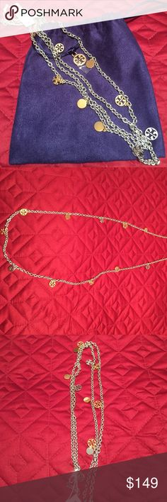 Tory Burch Rosary necklace in gold & silver. NWT Logo charm necklace on a silver chain with gold logo charms with lobster clasp closure. 40 inch total length. Can be worn doubled or singular strand. Very versatile and can wore to dress up an outfit or with jeans. New with tags and comes with original TB blue velvet drawstring pouch. Tory Burch Jewelry Necklaces