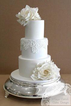Elegant White Fondant Wedding Cake With Flowers..So Gorgeous...Faye Cahill Cake Design