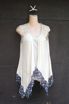 REVIVAL Boho Skull Knit Vest, Rocker Style, Junk Gypsy, Country Girl