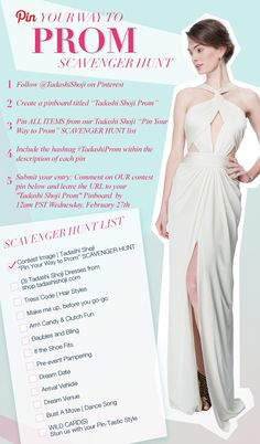 "COVET the most beautiful dress this prom season? PLAY our ""Pin Your Way to Prom"" Scavenger Hunt. CREATE the most ""Pin-Tastic"" board and WIN the dress of your choice from your ""Tadashi Shoji Prom"" pinboard. Official Rules: http://shop.tadashishoji.com/official-rules/ #TadashiProm"