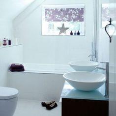 White Modern Bathroom with Purple Accents and Twin Basins Gray Bathroom Decor, Bathroom Spa, Bathroom Styling, Modern Bathroom, Bathroom Ideas, Basement Bathroom, Purple Accent Walls, Purple Accents, Purple Bathrooms