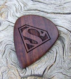 African Leadwood - Handmade Laser Engraved Premium Wood Guitar Pick - Superman Tribute