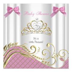 baby shower girl white pink princess damask card | pink princess, Baby shower invitations