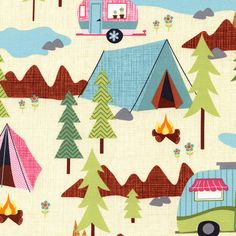 Fabric... Flannel Under the Stars Camping Scenic by Timeless Treasures