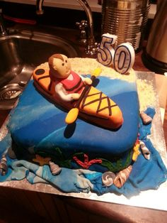 50th kayak cake.