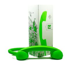 Retro POP Phone Lime  by Native Union    Designed by acclaimed French designer David Turpin, the Retro POP handset is his interpretation of the classic 1950s Bakelite-style telephone that acts as a fully functional headset for your cellular phone.