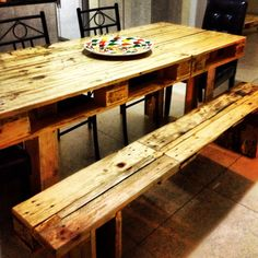 Pallet table and bench - what I want for the veranda
