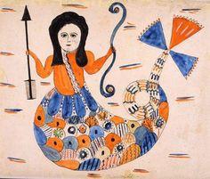 """Maremaid"" by Mary Ann Willson (active 1815–1825), Greene County, New York, c. 1815."