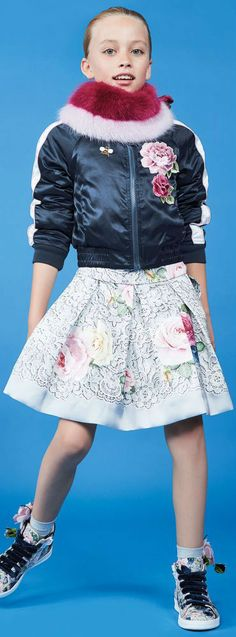 Love this Streetwear Look for Girls! MONNALISA CHIC Girls Floral Skirt and Reversible Bomber Jacket.