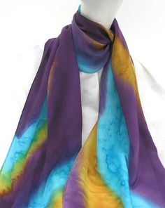 Hand Painted Silk Scarf in Purple Gold Turquoise by ShariArts, $34.00