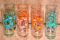Vintage Set of 8 Libby Libbey Flamingo Glass Tumblers Retro Mid Century Barware | eBay
