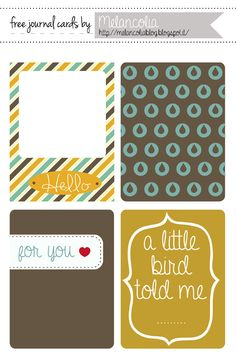 Free Journal and Filler Cards for Project Life
