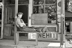 Gentleman resting outside general store in Blankenship, Martin County, Indiana, c. NEHI signs displayed out front! Shorpy Historical Photos, Martin County, Boston Public Library, Great Depression, Sign Display, Thats The Way, Library Of Congress, General Store, Historical Society
