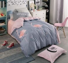 Bedding -3 pcs Cotton Flamingo Bedding set  (B-71)