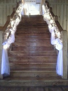 Tulle lights and babys breath staircase decorations stairway white tulle and lights stairway decorations junglespirit Image collections