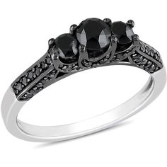 Ice 1 CT Black Diamond Black Rhodium Plated Ring ($490) ❤ liked on Polyvore featuring jewelry, rings, women's accessories, ice jewellery, ice ring, black rhodium jewelry, black diamond ring and black rhodium rings