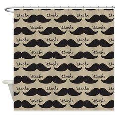 Mustache Vintage Retro Shower Curtain on CafePress.com