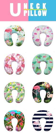 Pink Flamingo Print U-Shape Neck Pillow