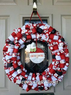 This is perfect for my front door! --- Santa Ribbon Wreath by BozuesCraftCloset on Etsy