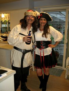 Easy Pirate Costume I glued on trim to a cheap pirate hat bought a black skirt and white blouse from Goodwill and added a bit of striped fabric hanging ...  sc 1 st  Pinterest & Easy diy pirate costumes...less than $10 dollars for each person ...