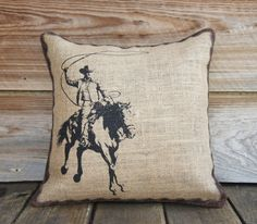 For Wyatt's room- Burlap Pillow Cover of Cowboy Cushion Throw by TheWatsonShop, $35.00