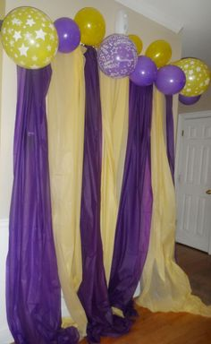 The Tablecloth Banner . Plastic Tablecloths with colour co-ordinate balloons! Would be better if we're a little neater and more balloons. Tangled Birthday, Tangled Party, Girl Birthday, 12th Birthday, Grad Parties, 4th Birthday Parties, Holiday Parties, 12 Year Old Birthday Party Ideas, Photo Booth Backdrop
