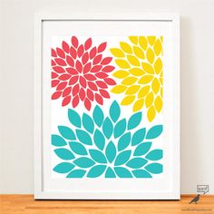 Coral Teal and Yellow Floral Burst Print Modern by WordBirdShop, $9.75