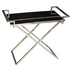 1960's - A very sleek & stylish black lacquered #tray with inlaid brass design on a polished nickel stand. #furniture