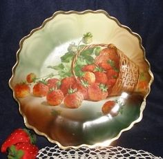 Antique Strawberry Plate Royal Munich Hand Painted China Germany Scalloped | eBay