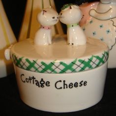 Vintage Holt Howard Cozy Kitty Cat Cottage Cheese Crock Keeper