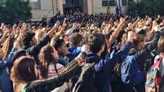 Hundreds of Berkeley High School students walked out of class Thursday in protest of racist and threatening messages that showed up on one of the school's library computers.