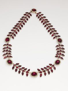 Early 1800s Georgian Garnet, Pearl, and gold Necklace and Earrings.