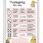 Your students will roll the dice three times to determine their character, problem, and setting for a thanksgiving inspired story!
