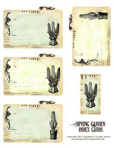 Ephemera's Vintage Garden: Free Printable - Spring Garden Index Cards