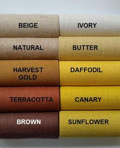 6 inch burlap ribbon x 3 yards long Ivory Beige Natural Colour Pallette, Color Palate, Beige Color, Color Shades, Wardrobe Color Guide, Color Mixing Chart, Colored Burlap, Color Combinations For Clothes, Brown Color Schemes