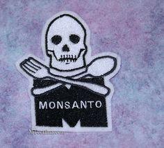 Monsanto Skull Crossbones Black White Iron On by MTthreadz on Etsy, $6.00 @moxiethrift on etsy persinger