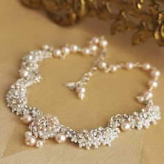 Garland of Roses Necklace | Handmade lace bridal collar with pink pearls and vintage rhinestones by Edera Jewelry